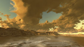 Alien landscape. Surreal alien landscape with planet made in 3d software Stock Images