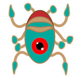 Alien-like worms, crabs, squid, Vector design elements. Royalty Free Stock Photo