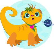 Alien Lizard Puppy with Purple Planet Royalty Free Stock Photography