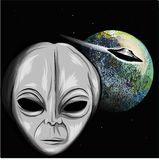 Alien looking at the earth illustration with ufo stock illustration