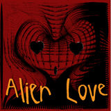 Alien Love. Heart-shaped alien head emerging out of the background Stock Images
