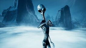 The alien makes an accusing and threatening gesture pointing his index finger. Animation for fantasy, science fiction