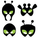 Alien masks. Alien faces illustrations isolated on white background. can be print and use as funny masks for kids Stock Photography