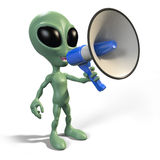 Alien with megaphone Royalty Free Stock Photo