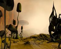 Alien misty desert landscape. 3d Digitally rendered illustration of an alien science fiction desert landscape dotted with giant mushrooms or toadstools and royalty free illustration