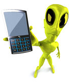 Alien with a mobile phone Stock Image