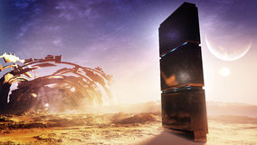 Alien Monolith With Ancient Civilization Ruins. Dark and strange monolith in a distant planet's moon with ruins of an ancient structure that used to live there Stock Photography