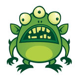 Alien Monster. Vector cartoon illustration of an ugly green alien monster with three eyes stock illustration