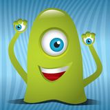 Alien Monster. Happy alien monster with three eyes Royalty Free Stock Photography