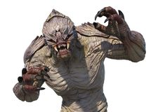 Alien Monster Attacking. An aggressive alien monster ready to attack - 3D render Stock Photos
