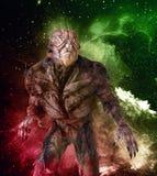 Alien monster on space background 3d illustration. 3D illustration alien monster on space background Stock Image