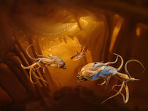 Alien Monsters in a Cave stock illustration