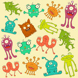 Alien and monsters. Seamless pattern background Stock Photos