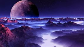 Alien moon over the misty planet. A large planet moon slowly rotates on a dark starry sky. The desert mountain landscape is filled with violet light. In the royalty free illustration