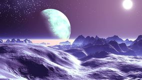 Alien Moon in Star Sky. The bright sun illuminates the desert mountain landscape. Above the horizon is a thick fog. Large moon in the penumbra vector illustration