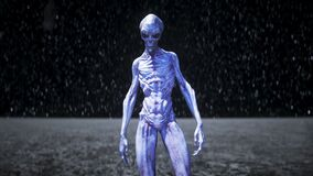 Alien on the moon. Ufo concept. 3d rendering.