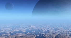 Alien Moons. Science fiction illustration of an alien ocean islands landscape with two moons in a vivid blue sky, 3d digitally rendered illustration Stock Photo