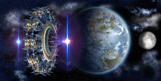Alien mothership UFO nearing Earth Stock Image