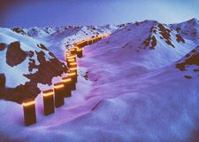 Alien mountain path. Alien glowing constuction in big mountains with snow. 3d render vector illustration