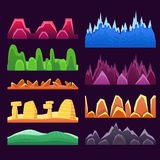 Alien Mountains And Colorful Desert Landscaping Seamless Background Patterns For 2D Platformer Game Design. Set Of Templates For Landscape Creation In Bright Royalty Free Stock Photos