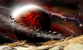 Alien mountains landscape with red planet. And rings on a deep space background royalty free illustration
