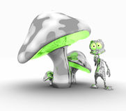Alien and mushrooms Royalty Free Stock Images