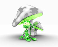 Alien and mushrooms. Quality 3d illustration of funky metal mushrooms and silly little alien Royalty Free Stock Image