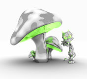 Alien and mushrooms. Quality 3d illustration of funky metal mushrooms and silly little alien Stock Photography