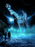 Alien mystery. During an exploration of a distant planet, two astronauts discover an alien gigantic crashed spaceship Royalty Free Stock Image