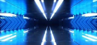 Alien Neon Laser Mirror Reflective Arrow Shaped Glowing Blue Purple Room Dark Metal Spaceship Sci Fi Futuristic Modern Background vector illustration