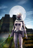Alien night. An astronaut woman whit an alien landscape in background in 3d Royalty Free Stock Photography