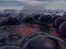 Alien ocean with bubbles - 3D illustration. Strange alien world, with a red water ocean and a sinister purple bubbles floating Stock Image