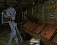 Alien in an old industrial plant Stock Images