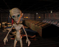 Alien in an old warehouse Stock Images
