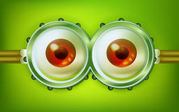 Alien open eyes with glasses Royalty Free Stock Image