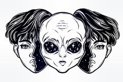 Alien from outer space face in disguise as a boy. Portriat of the extraordinary alien from outer space face in disguise as a human boy. UFO sci-fi, tattoo art Royalty Free Stock Photo