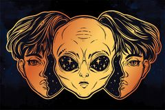 Alien from outer space face in disguise as a boy. Portriat of the extraordinary alien from outer space face in disguise as a human boy. UFO sci-fi, tattoo art Stock Image