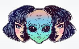 Alien from outer space face in disguise as a girl. Colorful vibrant portriat of an alien from outer space face in disguise as human girl. UFO sci-fi, tattoo art Stock Image