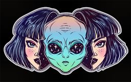 Alien from outer space face in disguise as a girl. Colorful vibrant portriat of an alien from outer space face in disguise as human girl. UFO sci-fi, tattoo art Royalty Free Stock Image