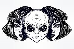 Alien from outer space face in disguise as a girl. Portriat of the extraordinary alien from outer space face in disguise as a human girl. UFO sci-fi, tattoo art Stock Photo