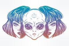 Alien from outer space face in disguise as a girl. Portriat of the extraordinary alien from outer space face in disguise as a human girl. UFO sci-fi, tattoo art Stock Images