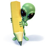Alien with pencil. 3d rendering of a little green cartoon alien holding a huge yellow pencil Royalty Free Stock Photo