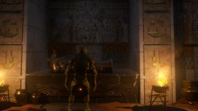 Alien in The Pharaonic temple in front of the mummy. Attack of aliens on the earth  planet vector illustration