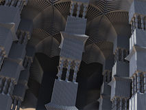 Alien Pillars Abstract Fractal Design. Alien pillars abstract fractal science fiction design in the form of futuristic city building columns for backgrounds and Royalty Free Stock Photo