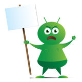 Alien with Placard_01 Royalty Free Stock Images