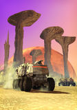 Alien planet. An alien desert planet with futuristic tanks with mountains and a moon in background in 3d vector illustration