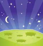 Alien Planet. A green alien planet with stars and planets in the background Royalty Free Stock Photography