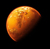 Alien planet. Orange and yellow alien planet in space Stock Photo