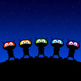 Alien planet. Colorful aliens gathered on their planet Vector Illustration