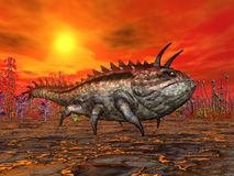 Alien Planet with Alien Creature Stock Photo